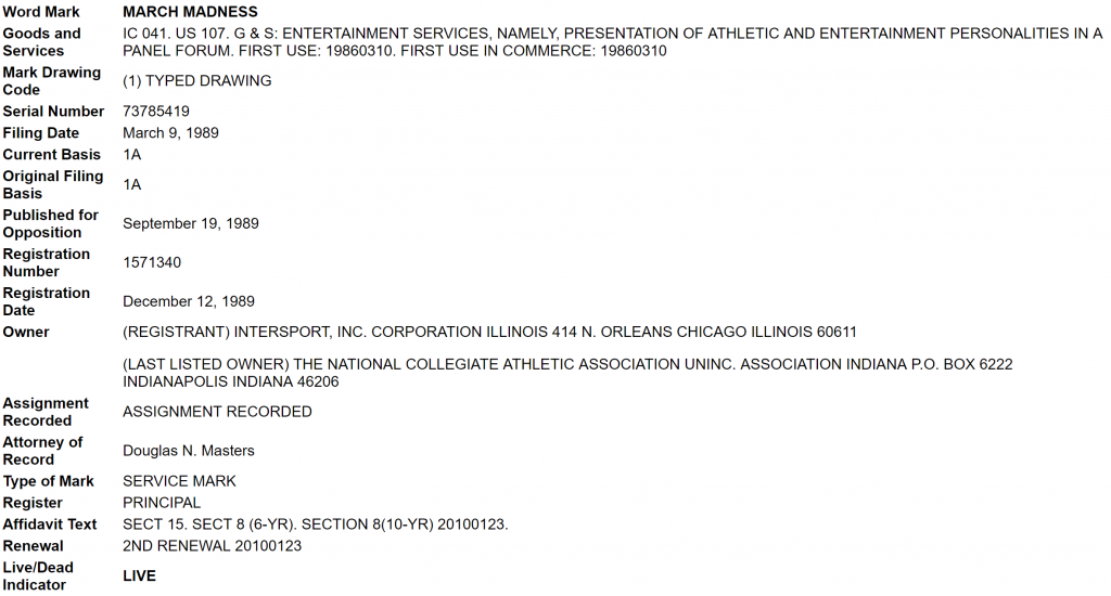 "Copy of ""MARCH MADNESS"" USPTO Filing"