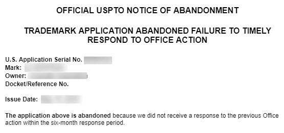 Office Notice of Abandonment