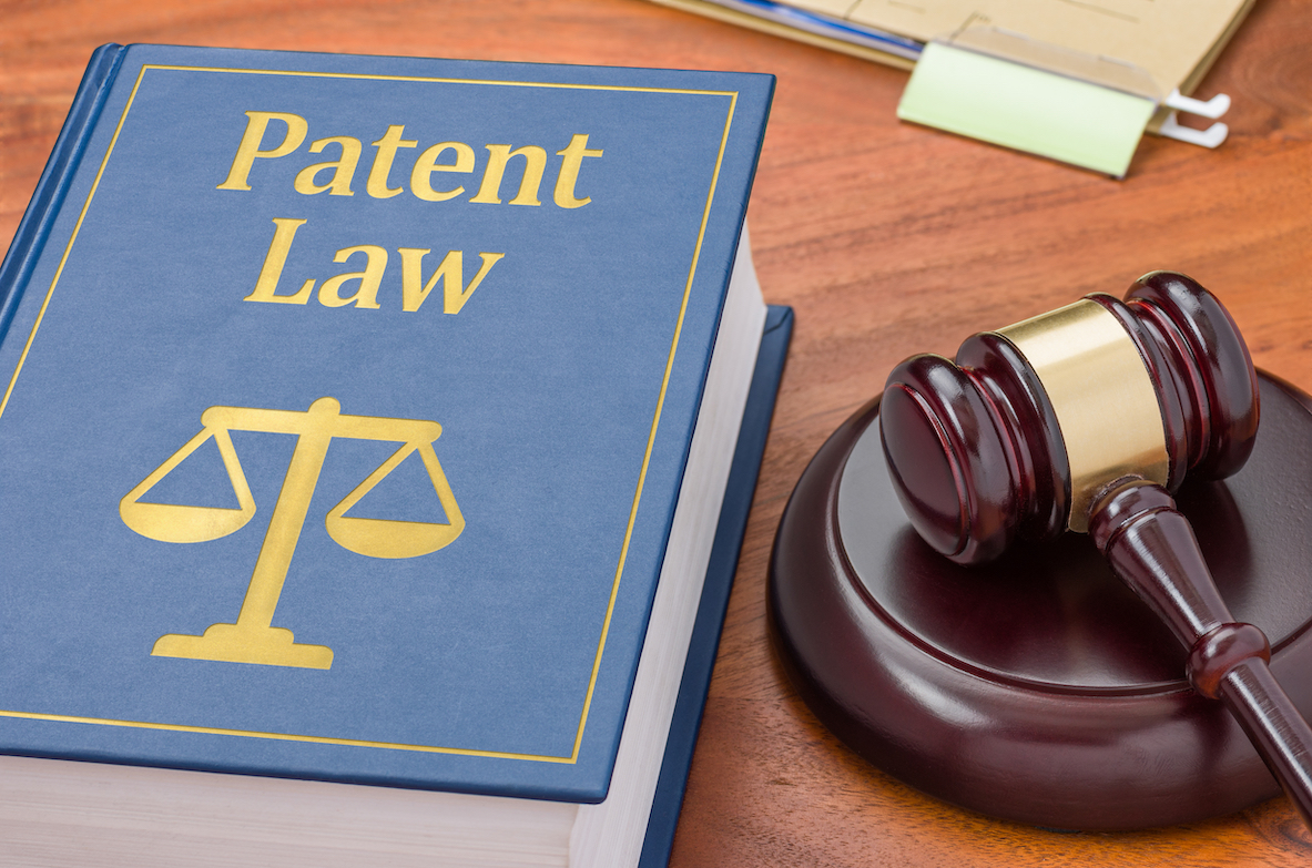 patent law book and gavel