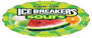 ICE BREAKERS SOURS SUGAR-FREE TO SHARE GREEN APPLE · WATERMELON TANGERINE NATURAL AND ARTIFICIAL FLAVORS AND NOT TO SHARE