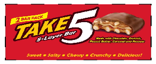 2 BAR PACK TAKE5 5-LAYER BAR, MADE WITH CHOCOLATE PRETZELS PEANUT BUTTER CARAMEL AND PEANUTS SWEET · SALTY · CHEWY · CRUNCHY DELICIOUS!