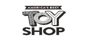 THE MARK CONSISTS OF THE WORDS AMERICA'S BEST TOY SHOP STACKED VERTICALLY, NAMELY THE WORDS AMERICA'S BEST ARE POSITIONED AT THE TOP OF THE WORD STACK IN BLOCK STYLE LETTERS ENCOMPASSED WITHIN A BANNER STRIP DESIGN, WHICH IS POSITIONED ABOVE THE WORD TOY WHEREIN EACH LETTER CONTAINS DESIGNS WITHIN EACH LETTER, NAMELY THE LETTER T CONTAINS DOTS IN THE SHAPE OF A T, AND THE LETTERS O AND Y CONTAIN LINES INSIDE THE SHAPE OF EACH LETTER O AND Y, POSITIONED ABOVE THE WORD SHOP IN BLOCK LETTERS